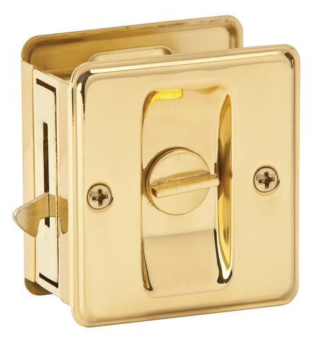 Schlage Privacy Sliding Door Lock In Bright Brass