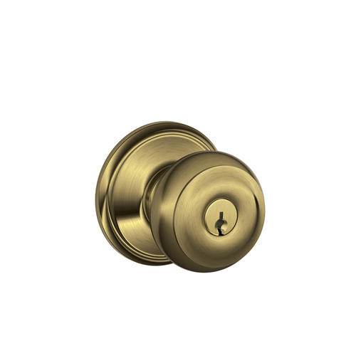 Schlage Georgian Knob Keyed Entry Lock In Antique Brass