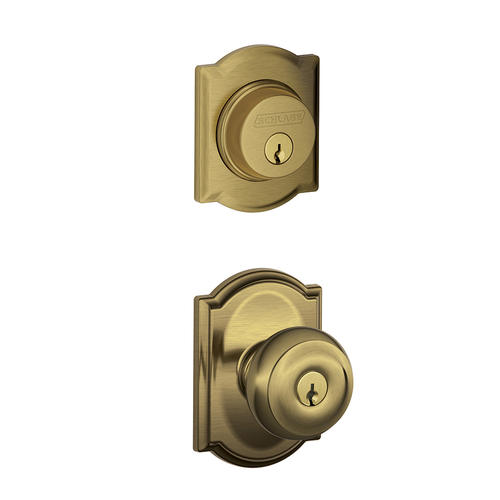 Schlage Camelot Style Single Cylinder Deadbolt With Keyed Entry Georgian Knob