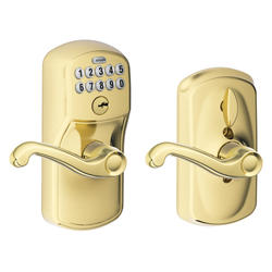 Schlage Flair Electronic Keypad Flexlock Entry Lever in Bright Brass
