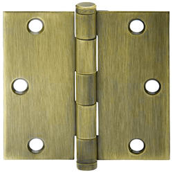 "3.5"" Antique Brass Square Hinge (3-Pack)"