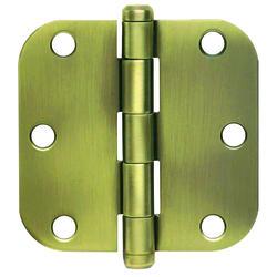"""3.5"""" Antique Brass Hinge (1/4"""" Radius) (3-Pack)"""