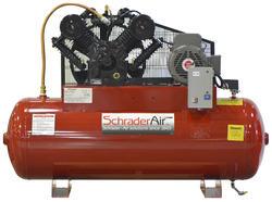 SchraderAir 80 Gallon Horizontal Professional Air Compressor - 7-1/2HP 230 Volt 2-Stage