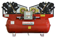 SchraderAir 120 Gallon Duplex Horizontal Professional Air Compressor - 10HP 208/230 Volt (3-Phase)