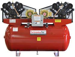 SchraderAir 200 Gallon Duplex Horizontal Professional Air Compressor - 10HP 208/230 Volt (3-Phase)