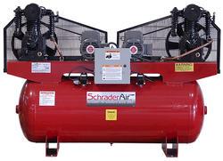 SchraderAir 120 Gallon Duplex Horizontal Professional Air Compressor - 5HP 208 Volt