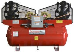 SchraderAir 120 Gallon Duplex Horizontal Professional Air Compressor - 5HP 208/230 Volt (3-Phase)