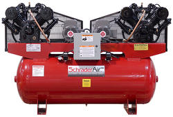 SchraderAir 120 Gallon Duplex Horizontal Professional Air Compressor - 7-1/2HP 208 Volt