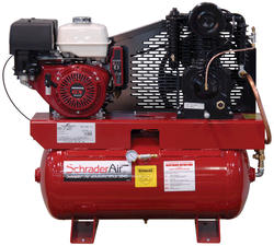 SchraderAir 30 Gallon Horizontal Heavy-Duty Honda Gas Air Compressor - 11HP 2-Stage