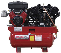 SchraderAir 30 Gallon Horizontal Briggs Gas Air Compressor - 16HP 2-Stage