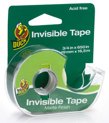 """Duck 0.75"""" x 650"""" Matte Invisible Stationery Tape"""