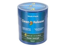 "Duck Clean Release 1.41"" x 60-yd 14-Day Blue Multi-Surface Painting Tape - 4-pk"