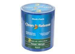 """Duck Clean Release 1.88"""" x 60-yd 14-Day Blue Multi-Surface Painting Tape - 3-pk"""