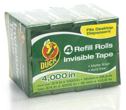 "Duck 0.75"" x 1,000"" Matte Invisible Stationery Tape - 4-pk"