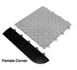 "Xtreme Garage® Edging Female with Corner black 15"" x 3"" x 1/2"""
