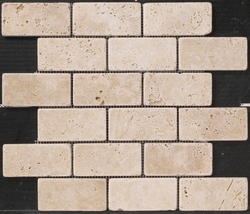 "Natural Choice Tumbled Travertine Brick Design Mosaic Floor or Wall Tile 2""x4"""