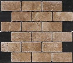 "Natural Choice Tumbled Travertine Brick Design Mosaic Floor or Wall Tile  2""x4"""