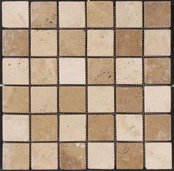 "Natural Choice Tumbled Travertine Checkerboard Mosaic Floor or Wall Tile  2""x2"""