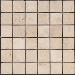 "Natural Choice Tumbled Travertine Mosaic Floor or Wall Tile  2""x2"""