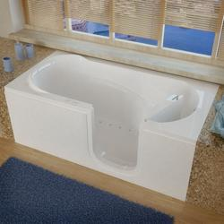 "Meditub 30"" x60"" Right Drain White Air Therapy Step Entry Tub"