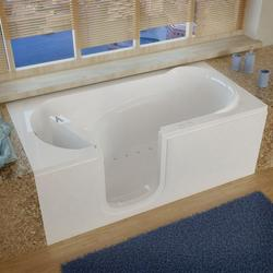"Meditub 30"" x60"" Left Drain White Air Therapy Step Entry Tub"