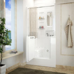 "Meditub 31"" x40"" Right Drain White Air Therapy Walk-In Bathtub"