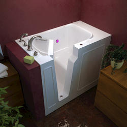 "Meditub 26"" x46"" Left Drain White Soaker Walk-In Bathtub"