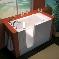 "Meditub 26"" x53"" Left Drain White Soaker Walk-In Bathtub"