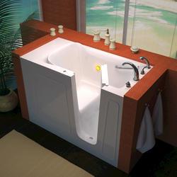 "Meditub 26"" x53"" Right Drain White Soaker Walk-In Bathtub"