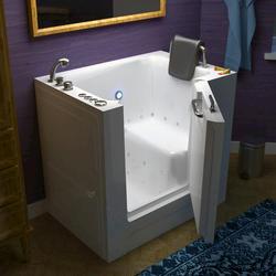 """Meditub 27"""" x39"""" Left Drain White Air Therapy Walk-In Bathtub"""