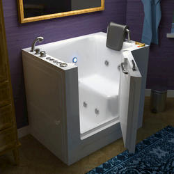 "Meditub 27"" x39"" Left Drain White Hydrotherapy & Air Therapy Walk-In Bathtub"