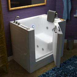 "Meditub 27"" x39"" Left Drain White Hydrotherapy Jetted Walk-In Bathtub"