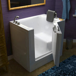"Meditub 27"" x39"" Left Drain White Soaker Walk-In Bathtub"
