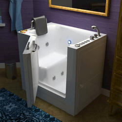 "Meditub 27"" x39"" Right Drain White Hydrotherapy & Air Therapy Walk-In Bathtub"