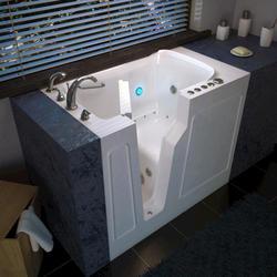 "Meditub 29"" x52"" Left Drain White Hydrotherapy & Air Therapy Walk-In Bathtub"