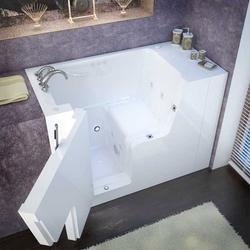 "Meditub 29"" x53"" Left Drain White Hydrotherapy & Air Therapy Wheelchair Accessible Bathtub"