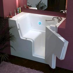 """Meditub 29"""" x53"""" Right Drain White Soaker Wheelchair Accessible Bathtub"""
