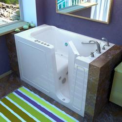 "Meditub 30"" x53"" Right Drain White Hydrotherapy & Air Therapy Walk-In Bathtub"