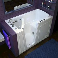 """Meditub 30"""" x54"""" Left Drain White Air Therapy Walk-In Bathtub"""