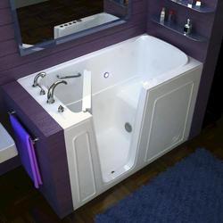 "Meditub 30"" x54"" Left Drain White Soaker Walk-In Bathtub"