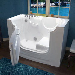 "Meditub 30"" x60"" Left Drain White Soaker Wheelchair Accessible Bathtub"