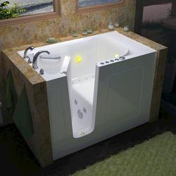 "Meditub 30"" x60"" Left Drain White Hydrotherapy & Air Therapy Walk-In Bathtub"