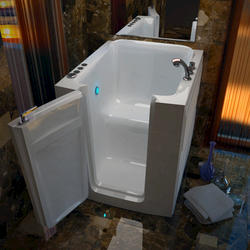 "Meditub 32"" x38"" Left Drain White Soaker Walk-In Bathtub"