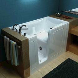 """Meditub 32"""" x60"""" Left Drain White Air Therapy Walk-In Bathtub"""