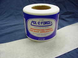 "Pol-E-Force  4"" x 100' is a polyester roofing fabric.  When saturated with cold applied roof coatings it perfectly molds to the roof surface to provide reinforcement with easy application."