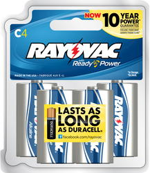 Rayovac C Alkaline Batteries - Reclosable 4-pk