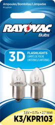 Rayovac Krypton Flange Base Bulbs for 3D Flashlight - 2-pk