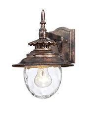 """Joliet 1-Light 13"""" Gold Brown Wall Lantern"""