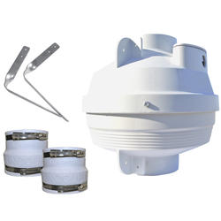 "Suncourt Radon Mitigation Fan Kit 4 in"" Fan with 4"" to 4 in"" White Couplers"