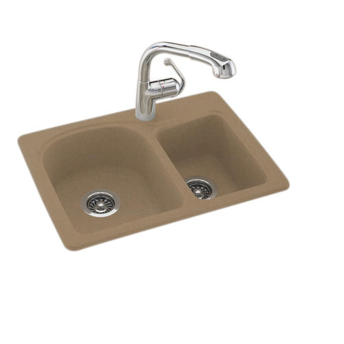 "Swan Space Saver 25""W x 18""D Double Bowl Kitchen Sink at"